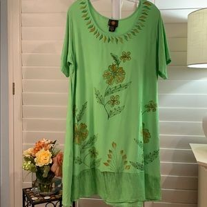 Bright sundress/coverup! Lime green floral. 2X